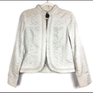 Oatmeal floral lace eyelet embroidered blazer 10